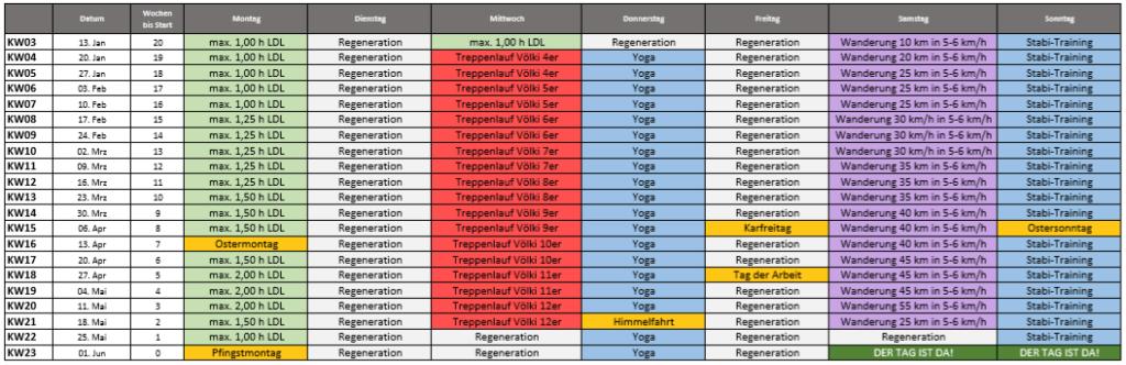 Entwurf des Tainingsplans